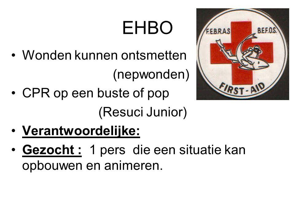 EHBO Wonden kunnen ontsmetten (nepwonden) CPR op een buste of pop (Resuci Junior) Verantwoordelijke: Gezocht : 1 pers die een situatie kan opbouwen en