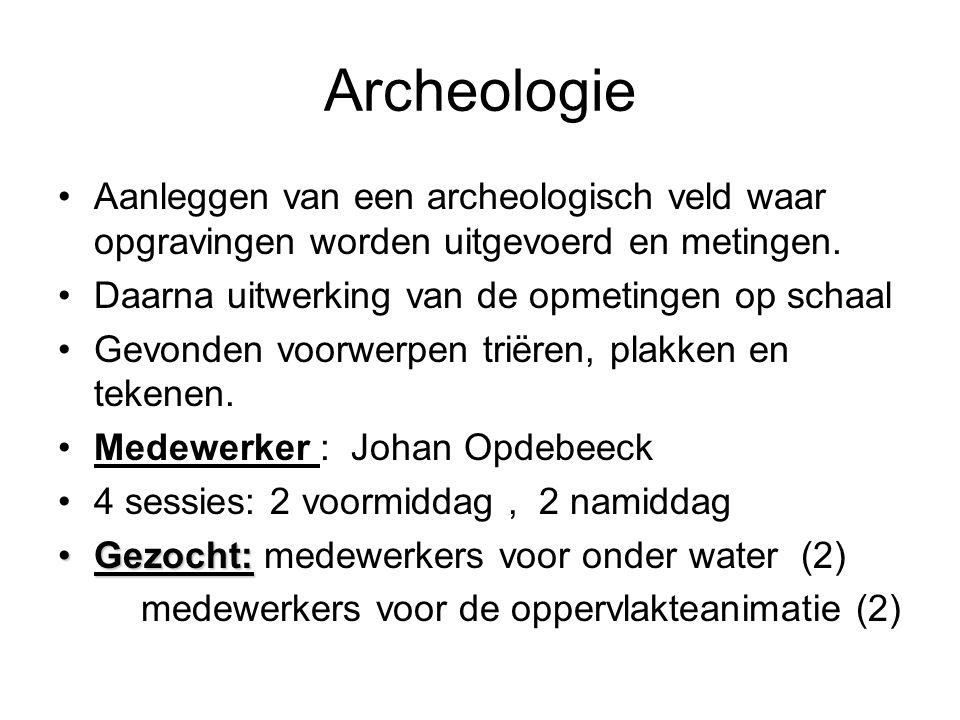 Aanleggen van een archeologisch veld waar opgravingen worden uitgevoerd en metingen. Daarna uitwerking van de opmetingen op schaal Gevonden voorwerpen