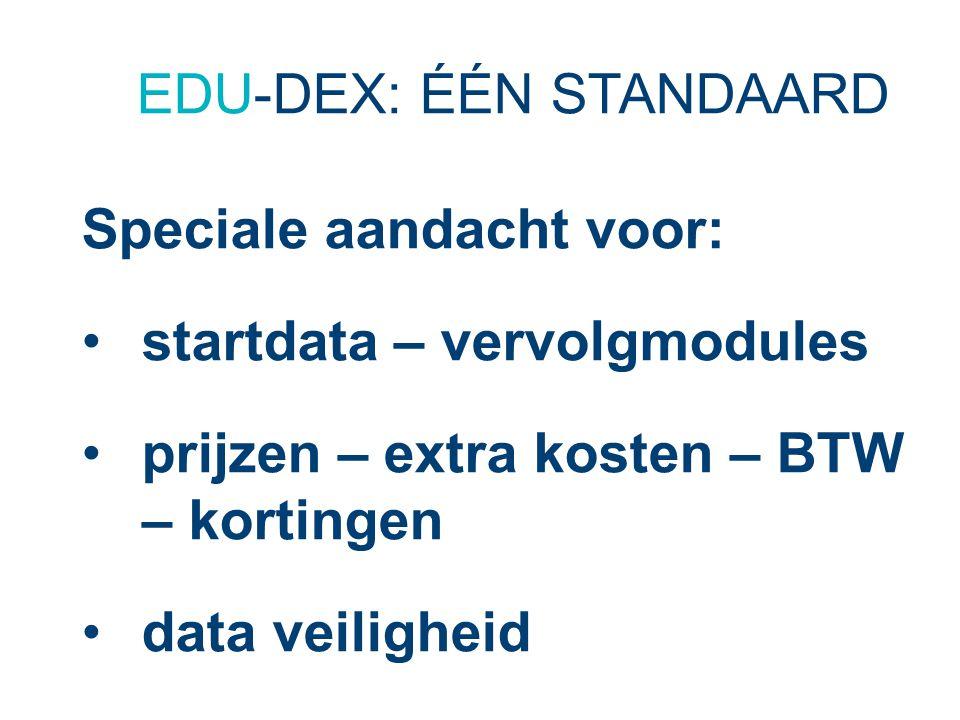 EDU-DEX: ÉÉN STANDAARD Speciale aandacht voor: startdata – vervolgmodules prijzen – extra kosten – BTW – kortingen data veiligheid