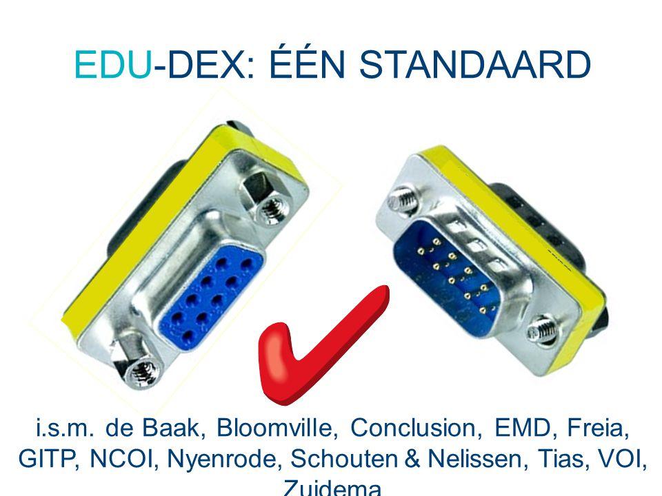 EDU-DEX: ÉÉN STANDAARD i.s.m. de Baak, Bloomville, Conclusion, EMD, Freia, GITP, NCOI, Nyenrode, Schouten & Nelissen, Tias, VOI, Zuidema