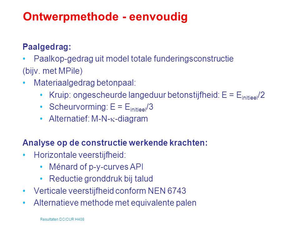 Resultaten DC/CUR H408 Ontwerpmethode - eenvoudig Paalgedrag: Paalkop-gedrag uit model totale funderingsconstructie (bijv. met MPile) Materiaalgedrag