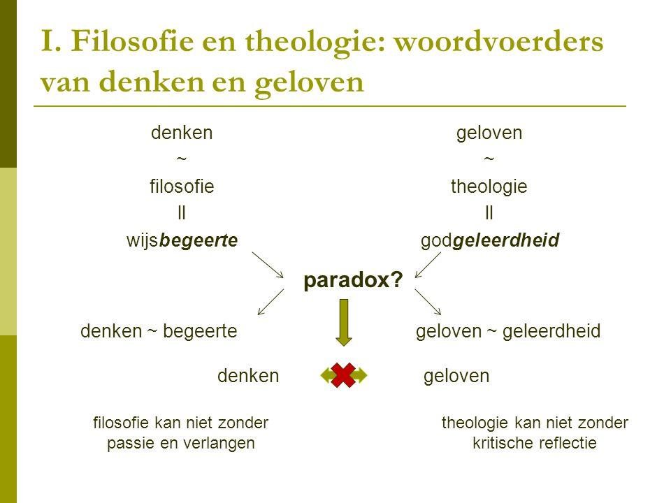 I. Filosofie en theologie: woordvoerders van denken en geloven denken ~ filosofie ll wijsbegeerte geloven ~ theologie ll godgeleerdheid paradox? denke