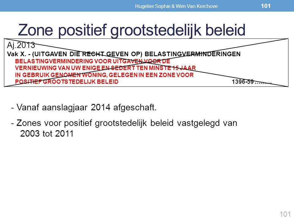 Zone positief grootstedelijk beleid 101 - Vanaf aanslagjaar 2014 afgeschaft. - Zones voor positief grootstedelijk beleid vastgelegd van 2003 tot 2011