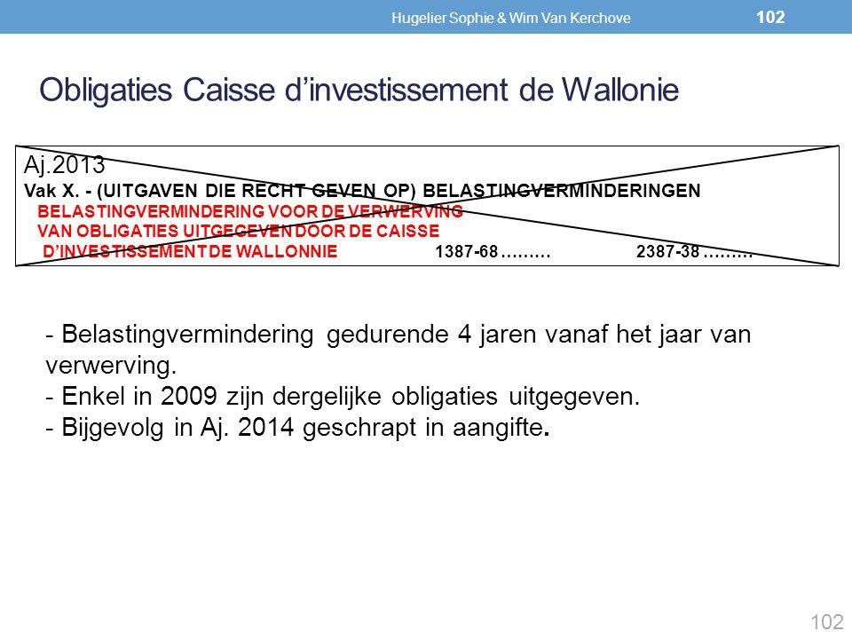 Obligaties Caisse d'investissement de Wallonie Aj.2013 Vak X. - (UITGAVEN DIE RECHT GEVEN OP) BELASTINGVERMINDERINGEN BELASTINGVERMINDERING VOOR DE VE