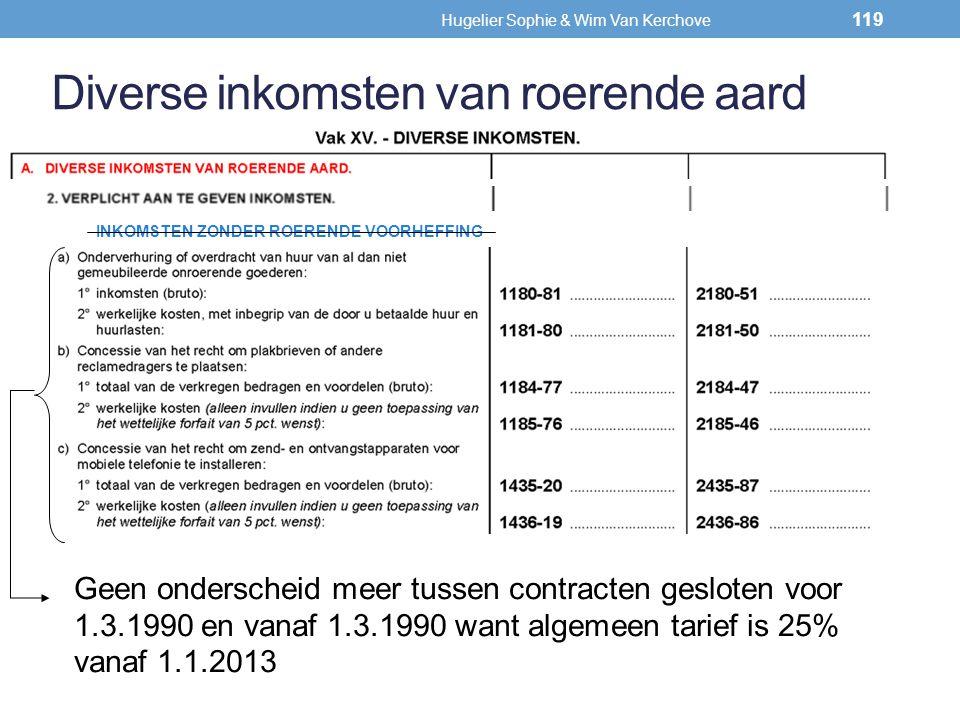 Diverse inkomsten van roerende aard INKOMSTEN ZONDER ROERENDE VOORHEFFING Geen onderscheid meer tussen contracten gesloten voor 1.3.1990 en vanaf 1.3.