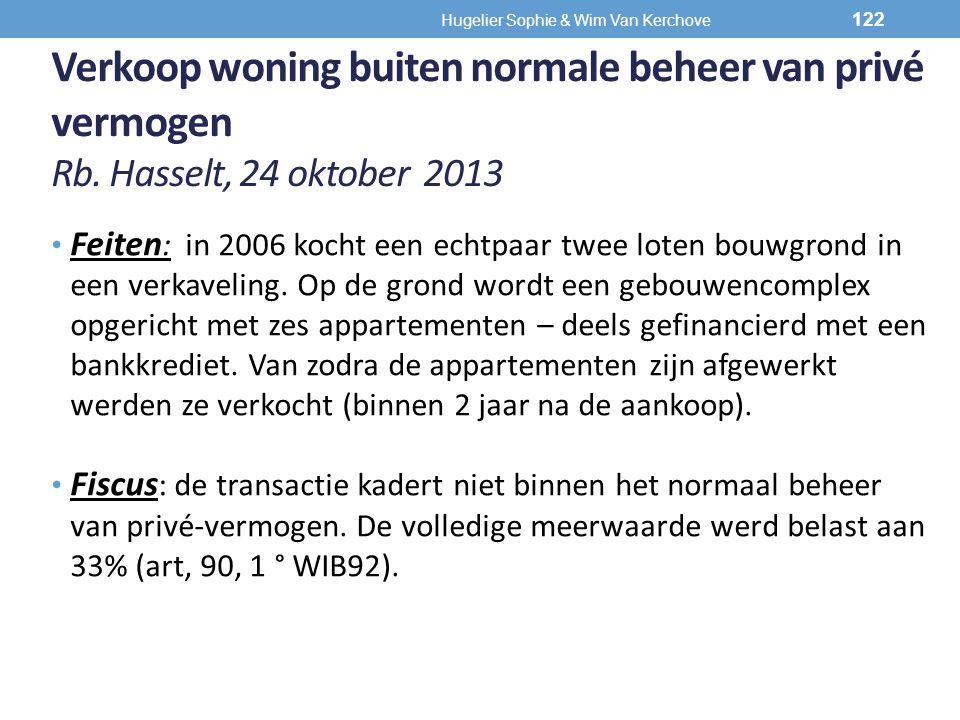 Verkoop woning buiten normale beheer van privé vermogen Rb. Hasselt, 24 oktober 2013 Feiten : in 2006 kocht een echtpaar twee loten bouwgrond in een v