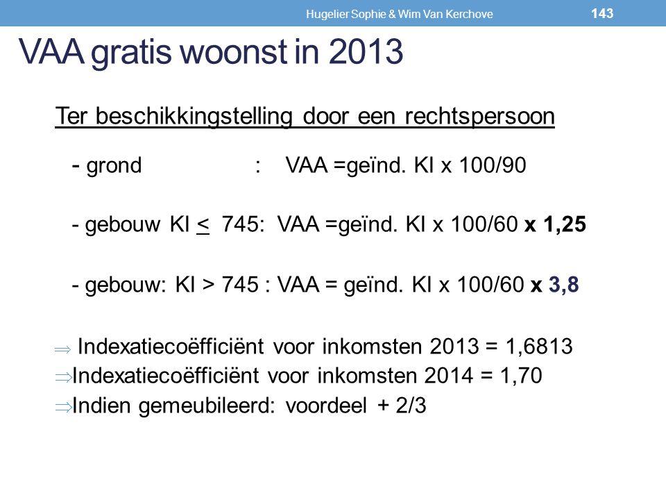 VAA gratis woonst in 2013 Ter beschikkingstelling door een rechtspersoon - grond: VAA =geïnd. KI x 100/90 - gebouw KI < 745: VAA =geïnd. KI x 100/60 x