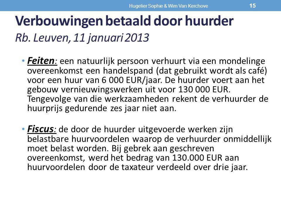 Verbouwingen betaald door huurder Rb. Leuven, 11 januari 2013 Feiten : een natuurlijk persoon verhuurt via een mondelinge overeenkomst een handelspand