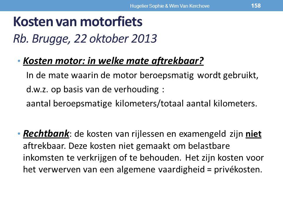 Kosten van motorfiets Rb. Brugge, 22 oktober 2013 Kosten motor: in welke mate aftrekbaar? In de mate waarin de motor beroepsmatig wordt gebruikt, d.w.