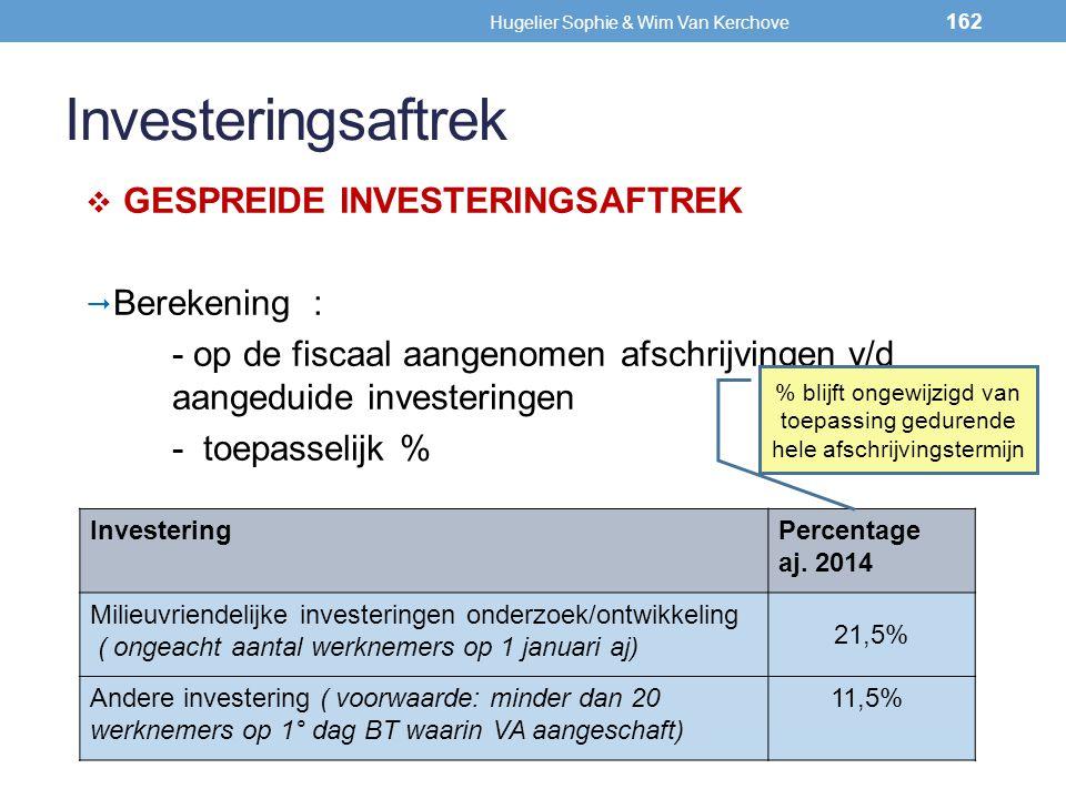 Investeringsaftrek  GESPREIDE INVESTERINGSAFTREK  Berekening : - op de fiscaal aangenomen afschrijvingen v/d aangeduide investeringen - toepasselijk