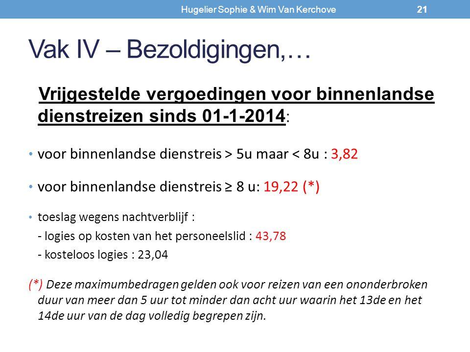 Vak IV – Bezoldigingen,… Vrijgestelde vergoedingen voor binnenlandse dienstreizen sinds 01-1-2014 : voor binnenlandse dienstreis > 5u maar < 8u : 3,82