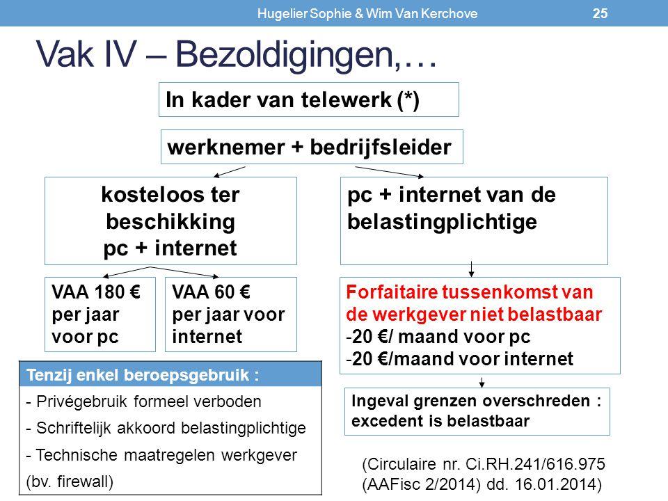 Vak IV – Bezoldigingen,… werknemer + bedrijfsleider In kader van telewerk (*) kosteloos ter beschikking pc + internet pc + internet van de belastingpl