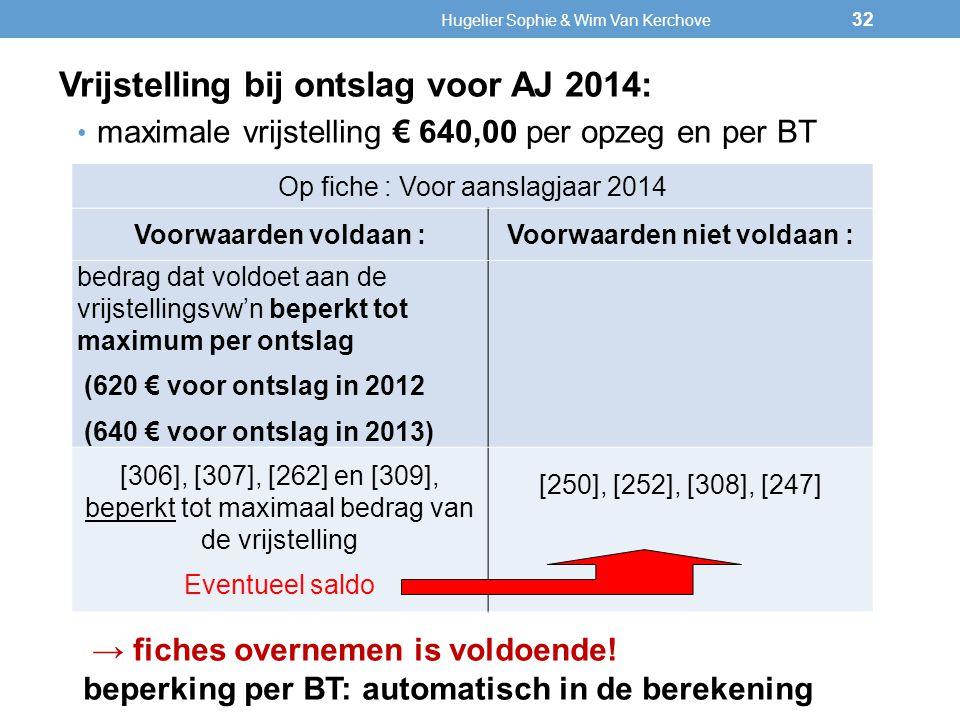 Op fiche : Voor aanslagjaar 2014 Voorwaarden voldaan :Voorwaarden niet voldaan : bedrag dat voldoet aan de vrijstellingsvw'nbeperkt tot maximum per on