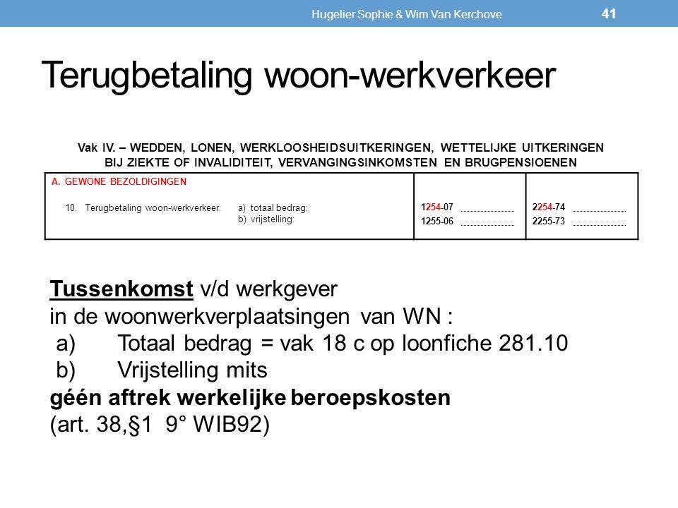 Terugbetaling woon-werkverkeer Vak IV. – WEDDEN, LONEN, WERKLOOSHEIDSUITKERINGEN, WETTELIJKE UITKERINGEN BIJ ZIEKTE OF INVALIDITEIT, VERVANGINGSINKOMS