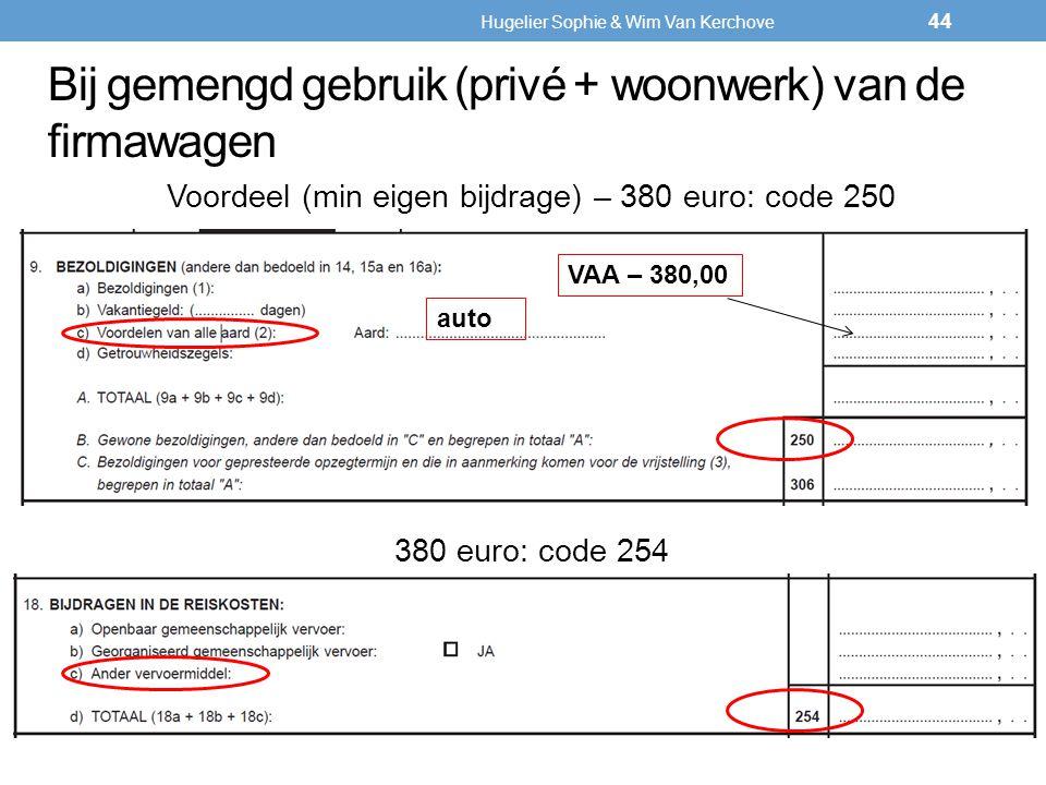 Bij gemengd gebruik (privé + woonwerk) van de firmawagen Voordeel (min eigen bijdrage) – 380 euro: code 250 380 euro: code 254 44 auto VAA – 380,00 Hu