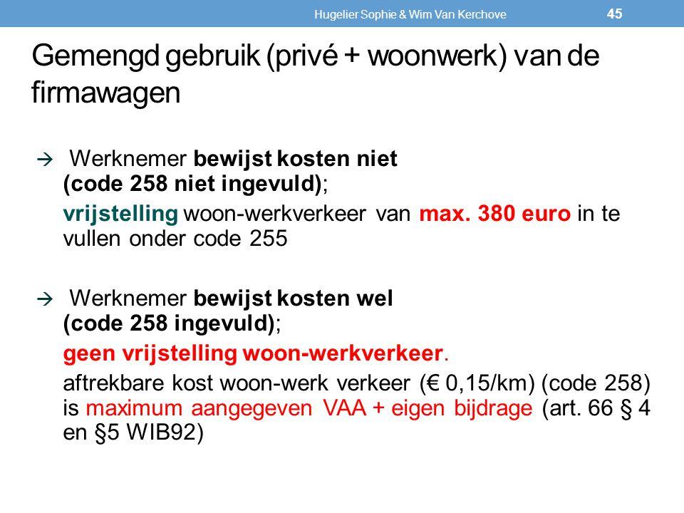 Werknemer bewijst kosten niet (code 258 niet ingevuld); vrijstelling woon-werkverkeer van max. 380 euro in te vullen onder code 255  Werknemer bewi