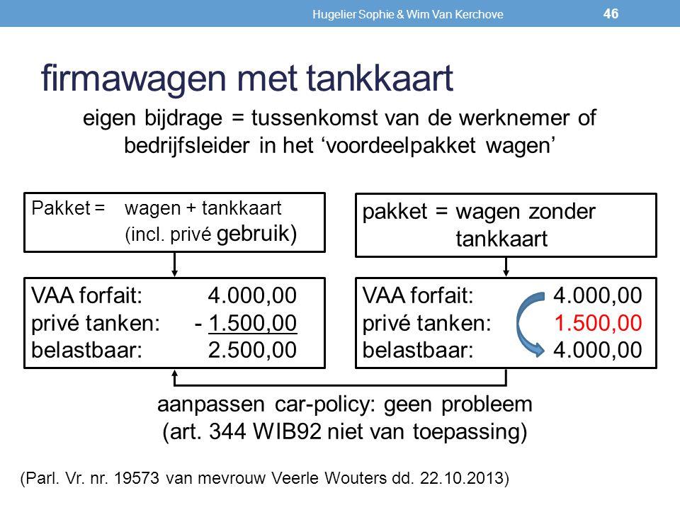firmawagen met tankkaart eigen bijdrage = tussenkomst van de werknemer of bedrijfsleider in het 'voordeelpakket wagen' Pakket =wagen + tankkaart (incl