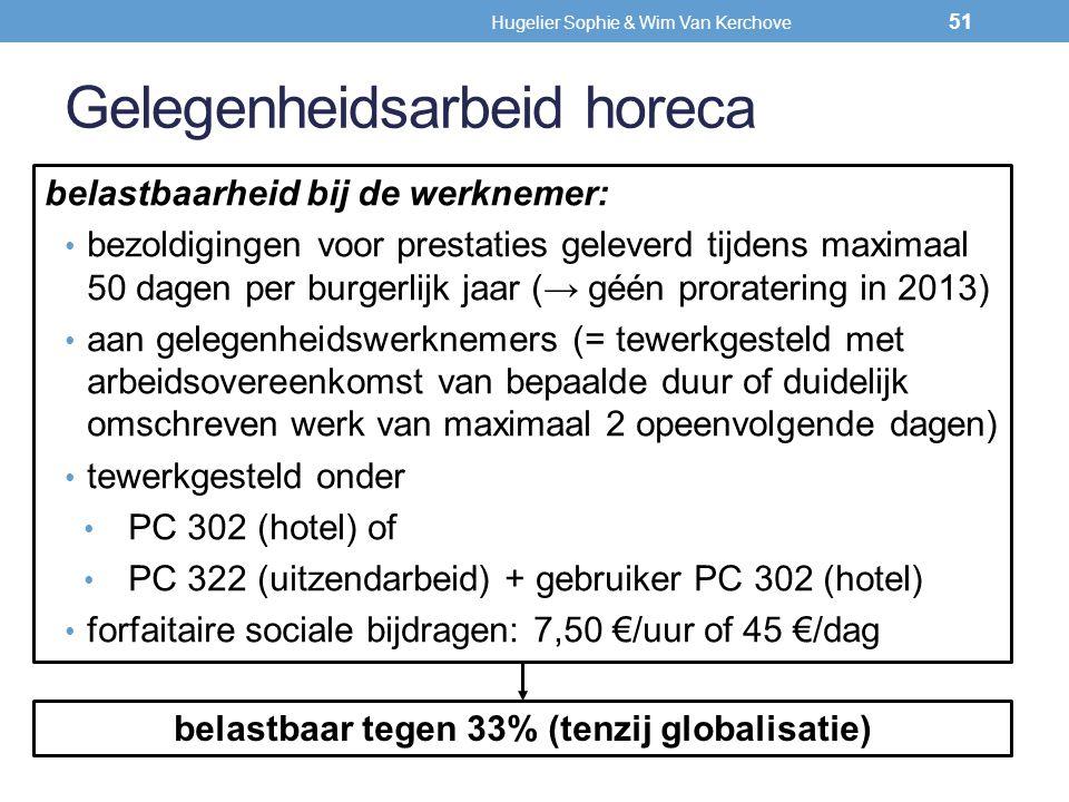 Gelegenheidsarbeid horeca belastbaarheid bij de werknemer: bezoldigingen voor prestaties geleverd tijdens maximaal 50 dagen per burgerlijk jaar (→ géé