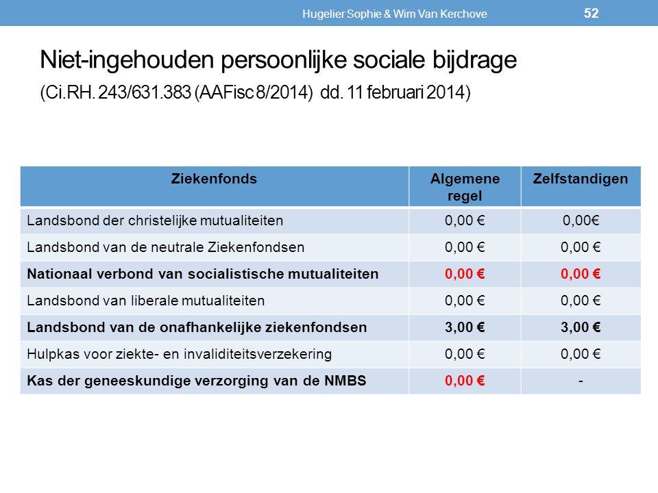 Niet-ingehouden persoonlijke sociale bijdrage (Ci.RH. 243/631.383 (AAFisc 8/2014) dd. 11 februari 2014) ZiekenfondsAlgemene regel Zelfstandigen Landsb