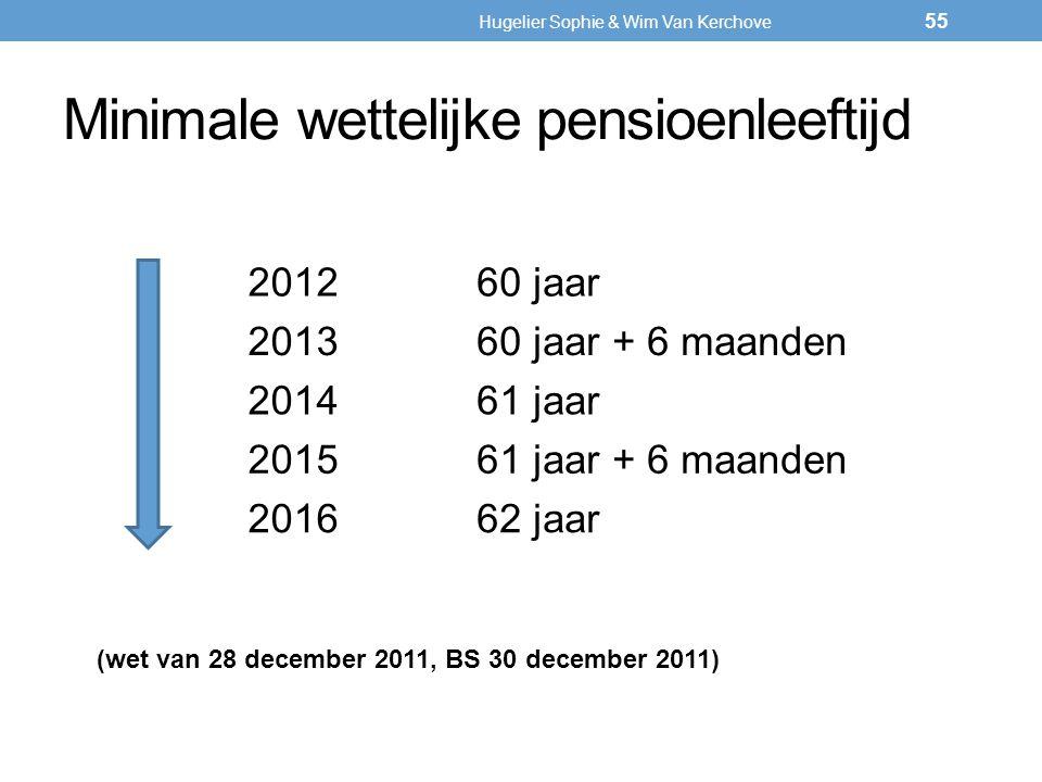 Minimale wettelijke pensioenleeftijd 201260 jaar 201360 jaar + 6 maanden 201461 jaar 201561 jaar + 6 maanden 201662 jaar (wet van 28 december 2011, BS