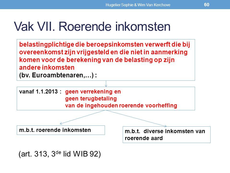 Vak VII. Roerende inkomsten (art. 313, 3 de lid WIB 92) belastingplichtige die beroepsinkomsten verwerft die bij overeenkomst zijn vrijgesteld en die