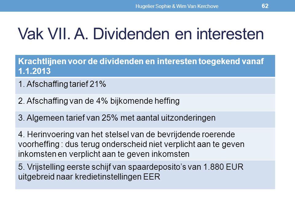 Vak VII. A. Dividenden en interesten Krachtlijnen voor de dividenden en interesten toegekend vanaf 1.1.2013 1. Afschaffing tarief 21% 2. Afschaffing v
