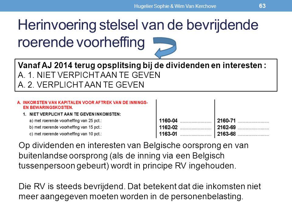 Herinvoering stelsel van de bevrijdende roerende voorheffing Vanaf AJ 2014 terug opsplitsing bij de dividenden en interesten : A. 1. NIET VERPICHT AAN