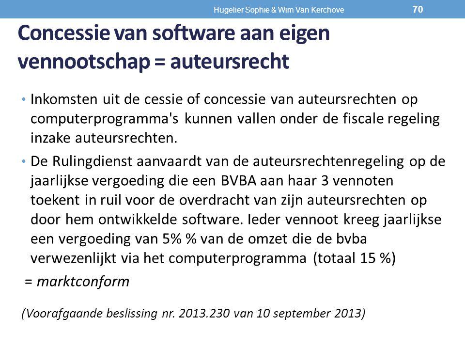 Concessie van software aan eigen vennootschap = auteursrecht Inkomsten uit de cessie of concessie van auteursrechten op computerprogramma's kunnen val