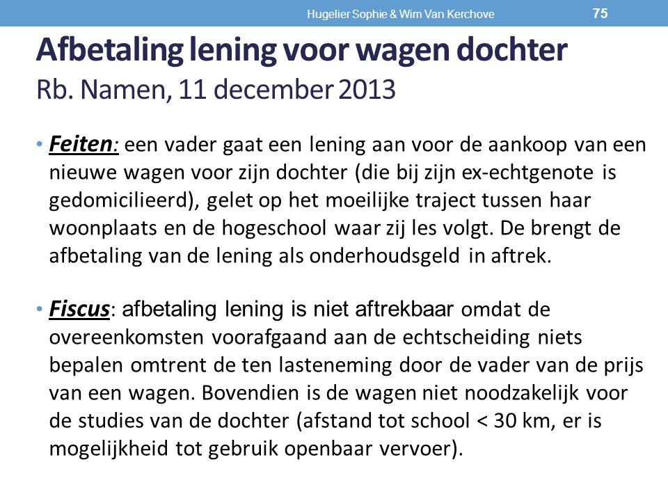 Afbetaling lening voor wagen dochter Rb. Namen, 11 december 2013 Feiten : een vader gaat een lening aan voor de aankoop van een nieuwe wagen voor zijn