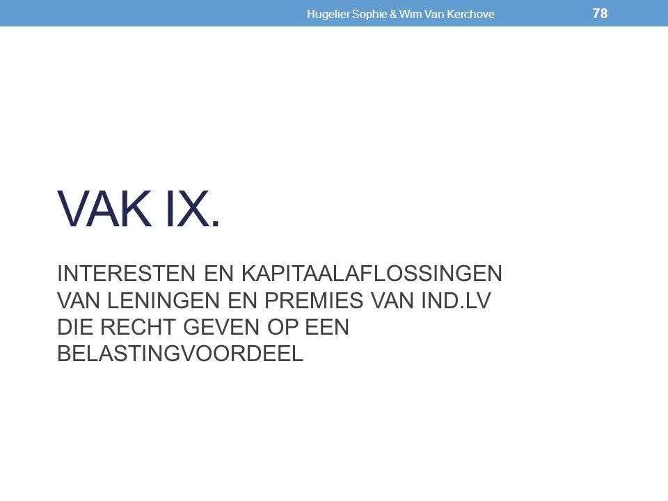 VAK IX. INTERESTEN EN KAPITAALAFLOSSINGEN VAN LENINGEN EN PREMIES VAN IND.LV DIE RECHT GEVEN OP EEN BELASTINGVOORDEEL 78 Hugelier Sophie & Wim Van Ker