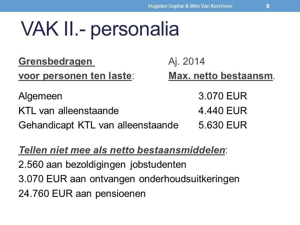 VAK II.- personalia Grensbedragen Aj. 2014 voor personen ten laste: Max. netto bestaansm. Algemeen3.070 EUR KTL van alleenstaande4.440 EUR Gehandicapt