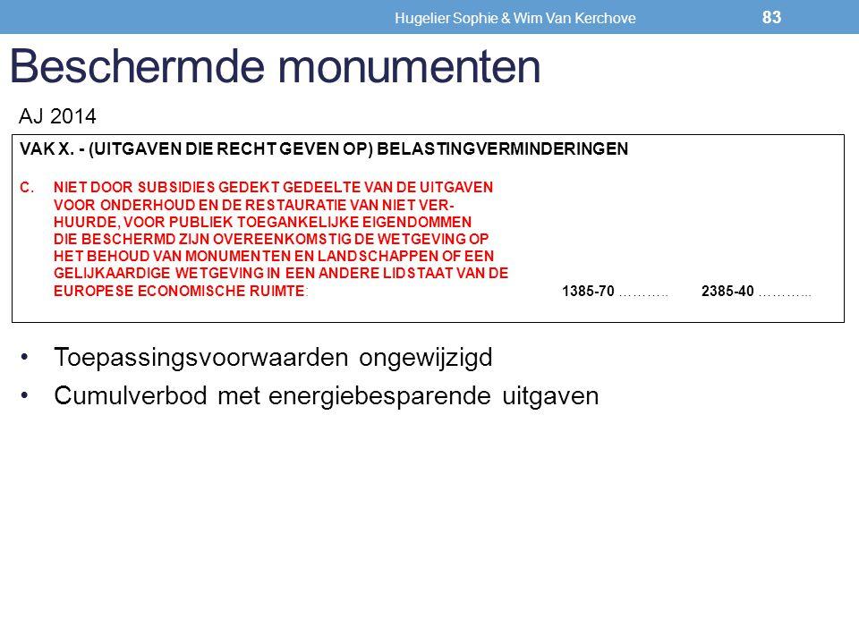 Beschermde monumenten VAK X. - (UITGAVEN DIE RECHT GEVEN OP) BELASTINGVERMINDERINGEN C.NIET DOOR SUBSIDIES GEDEKT GEDEELTE VAN DE UITGAVEN VOOR ONDERH