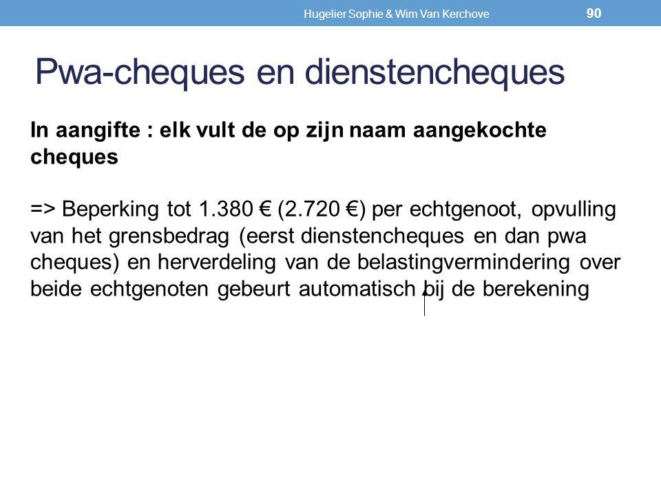 Pwa-cheques en dienstencheques In aangifte : elk vult de op zijn naam aangekochte cheques => Beperking tot 1.380 € (2.720 €) per echtgenoot, opvulling