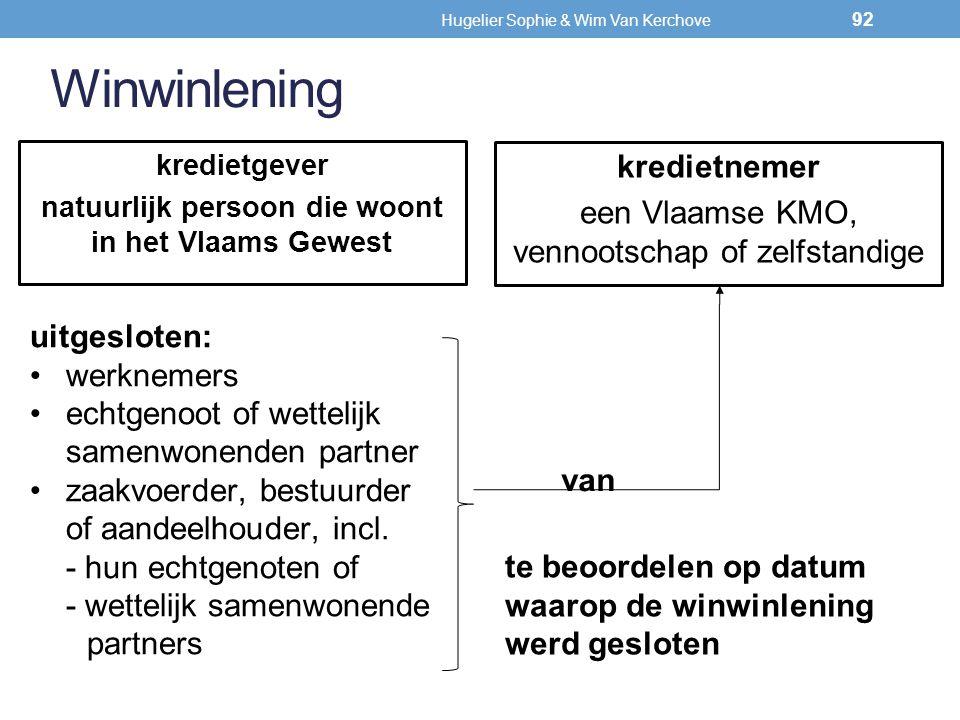 Winwinlening kredietnemer een Vlaamse KMO, vennootschap of zelfstandige kredietgever natuurlijk persoon die woont in het Vlaams Gewest uitgesloten: we
