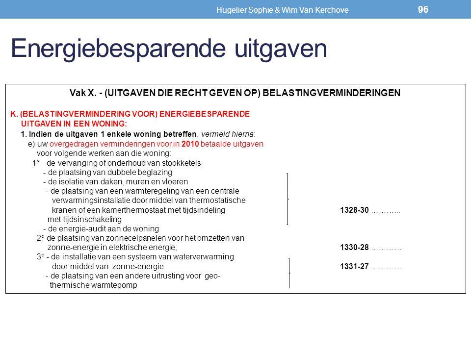 Energiebesparende uitgaven Vak X. - (UITGAVEN DIE RECHT GEVEN OP) BELASTINGVERMINDERINGEN K. (BELASTINGVERMINDERING VOOR) ENERGIEBESPARENDE UITGAVEN I