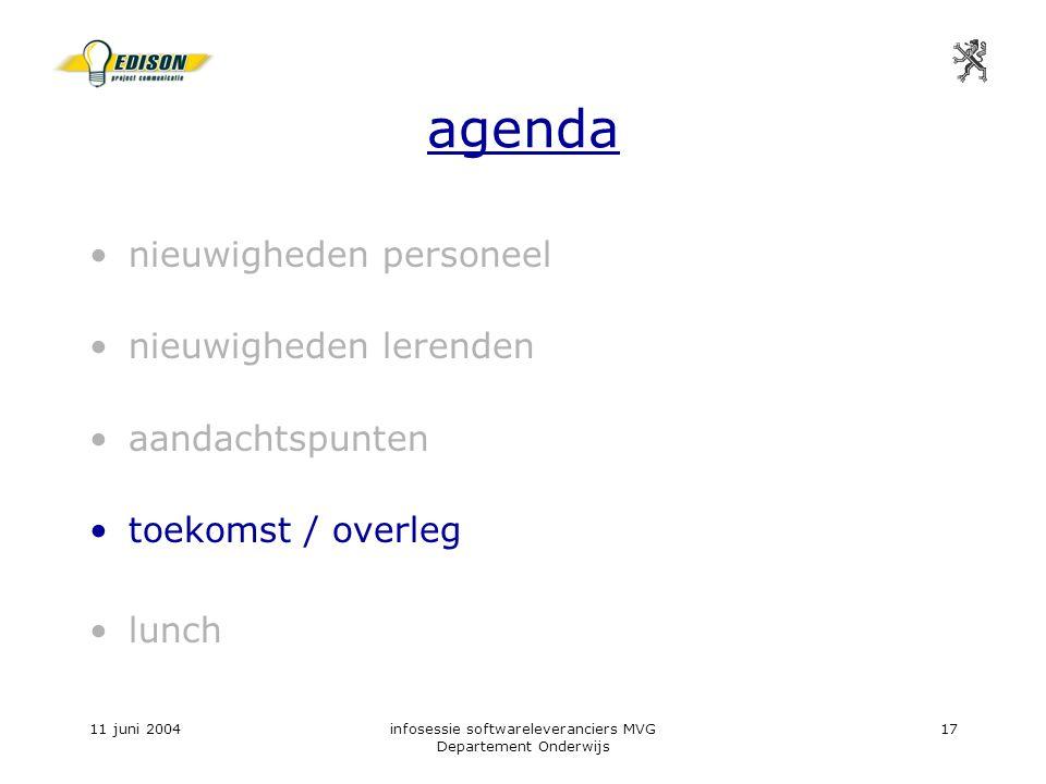 11 juni 2004infosessie softwareleveranciers MVG Departement Onderwijs 17 agenda nieuwigheden personeel nieuwigheden lerenden aandachtspunten toekomst / overleg lunch