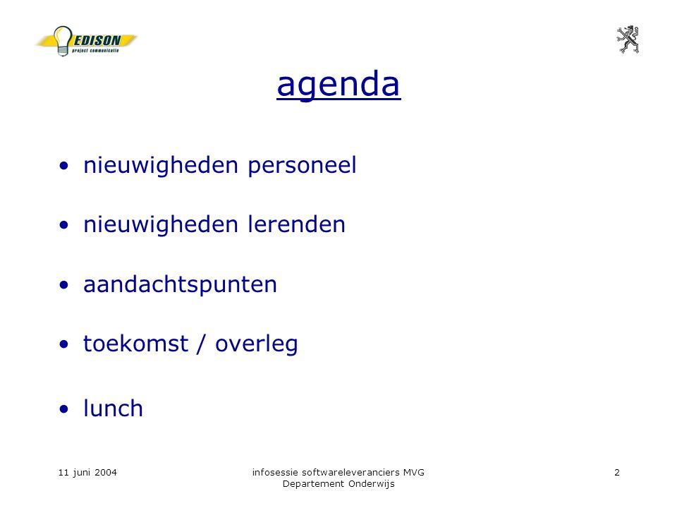 11 juni 2004infosessie softwareleveranciers MVG Departement Onderwijs 2 agenda nieuwigheden personeel nieuwigheden lerenden aandachtspunten toekomst / overleg lunch