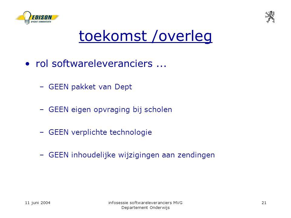 11 juni 2004infosessie softwareleveranciers MVG Departement Onderwijs 21 toekomst /overleg rol softwareleveranciers...