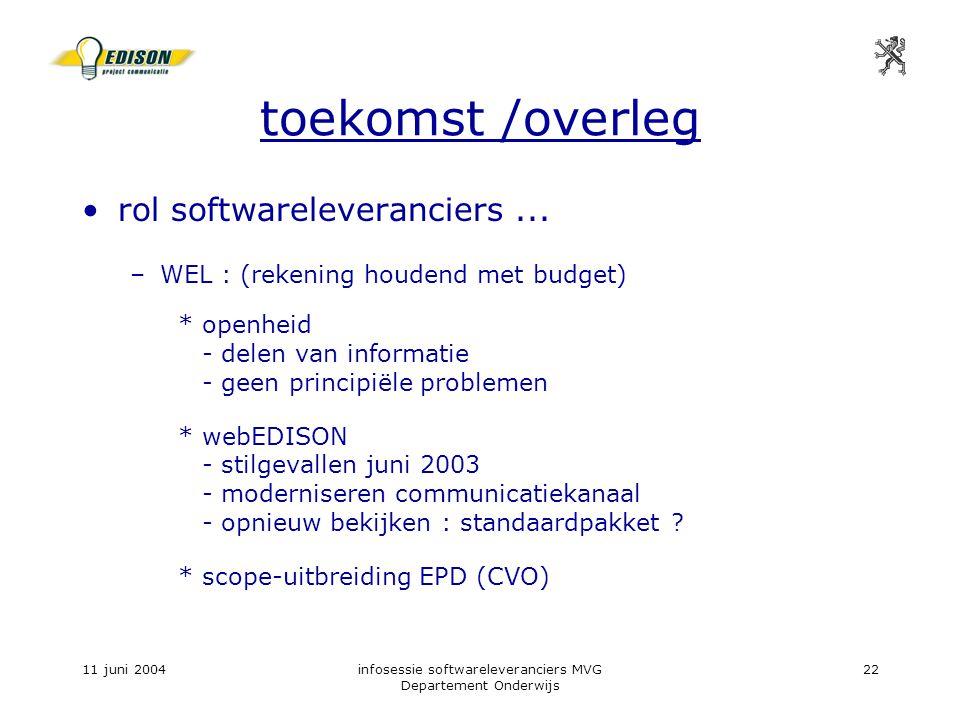 11 juni 2004infosessie softwareleveranciers MVG Departement Onderwijs 22 toekomst /overleg rol softwareleveranciers...