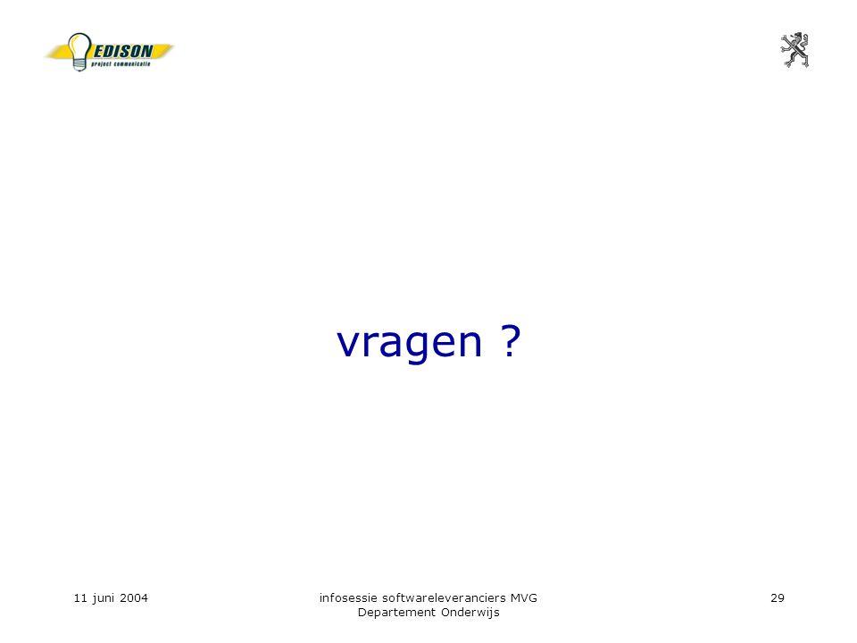 11 juni 2004infosessie softwareleveranciers MVG Departement Onderwijs 29 vragen