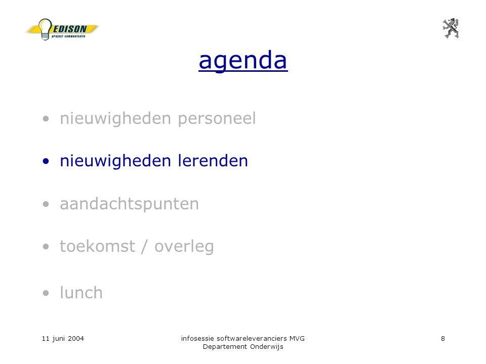 11 juni 2004infosessie softwareleveranciers MVG Departement Onderwijs 8 agenda nieuwigheden personeel nieuwigheden lerenden aandachtspunten toekomst / overleg lunch