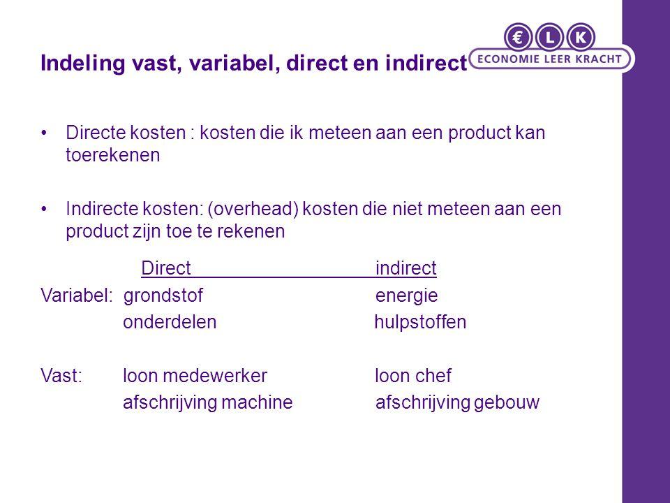 Indeling vast, variabel, direct en indirect Directe kosten : kosten die ik meteen aan een product kan toerekenen Indirecte kosten: (overhead) kosten d