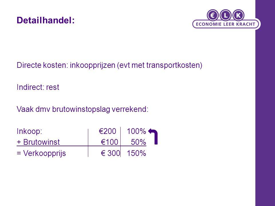 Detailhandel: Directe kosten: inkoopprijzen (evt met transportkosten) Indirect: rest Vaak dmv brutowinstopslag verrekend: Inkoop:€200100% + Brutowinst