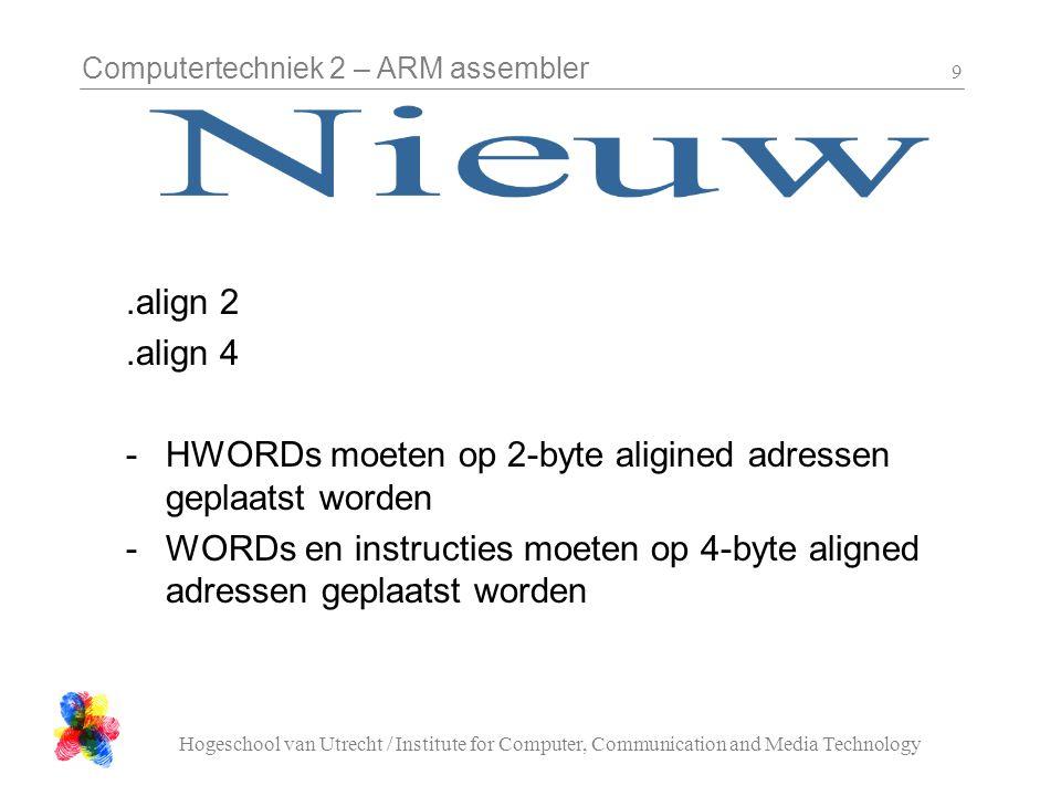 Computertechniek 2 – ARM assembler Hogeschool van Utrecht / Institute for Computer, Communication and Media Technology 20 WAIT_mS: @ save registers stmfdsp!, { r0-r1, lr } mov r1, r0 ldrr0, =1000 @ wait wait_ms_loop: blWAIT_uS addsr1, r1, #-1 bnewait_ms_loop @ save registers and return ldmfdsp!, { r0-r1, pc }
