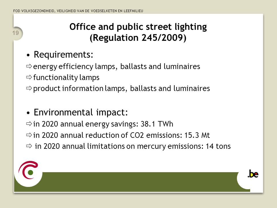 FOD VOLKSGEZONDHEID, VEILIGHEID VAN DE VOEDSELKETEN EN LEEFMILIEU 19 Office and public street lighting (Regulation 245/2009) Requirements:  energy ef