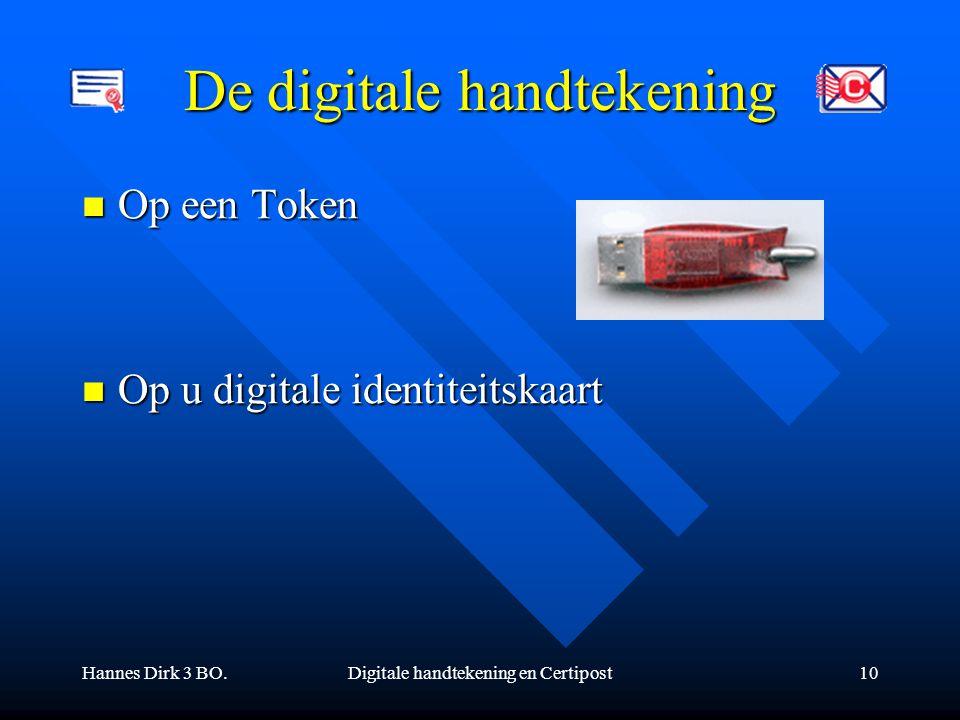 Hannes Dirk 3 BO.Digitale handtekening en Certipost10 De digitale handtekening Op een Token Op een Token Op u digitale identiteitskaart Op u digitale