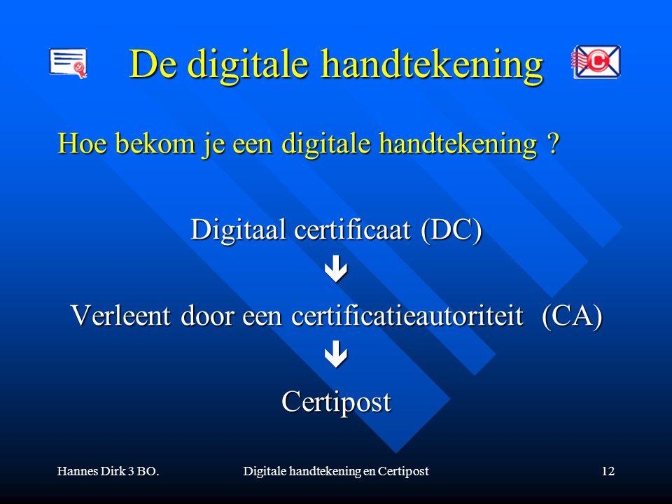 Hannes Dirk 3 BO.Digitale handtekening en Certipost12 De digitale handtekening Hoe bekom je een digitale handtekening ? Digitaal certificaat (DC)  Ve