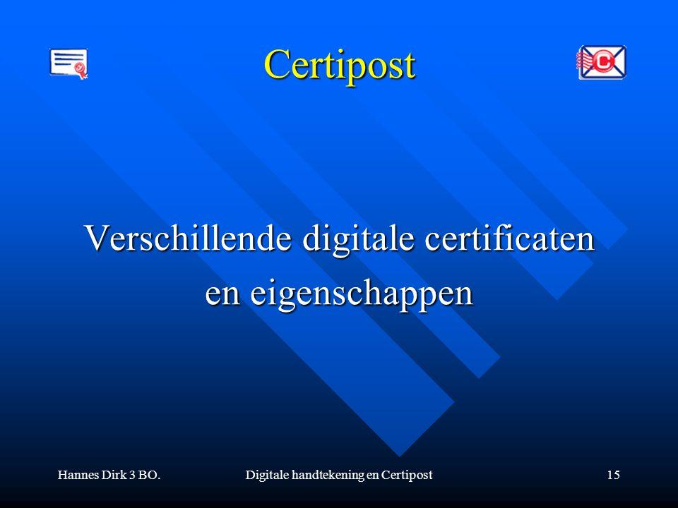 Hannes Dirk 3 BO.Digitale handtekening en Certipost15 Certipost Verschillende digitale certificaten en eigenschappen