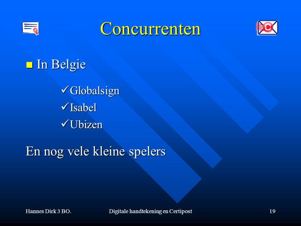 Hannes Dirk 3 BO.Digitale handtekening en Certipost19 Concurrenten In Belgie In Belgie Globalsign Globalsign Isabel Isabel Ubizen Ubizen En nog vele k