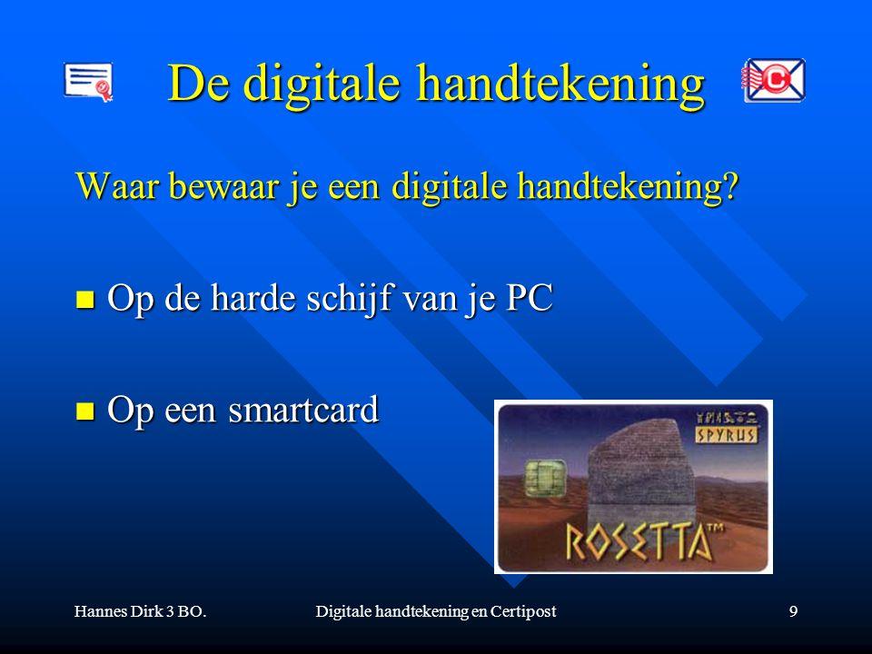 Hannes Dirk 3 BO.Digitale handtekening en Certipost9 De digitale handtekening Waar bewaar je een digitale handtekening? Op de harde schijf van je PC O